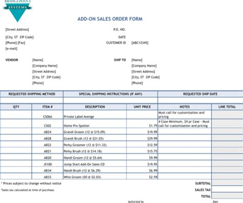 Download Order Form Excel Templates For Free Formtemplate Sales Form Template Excel