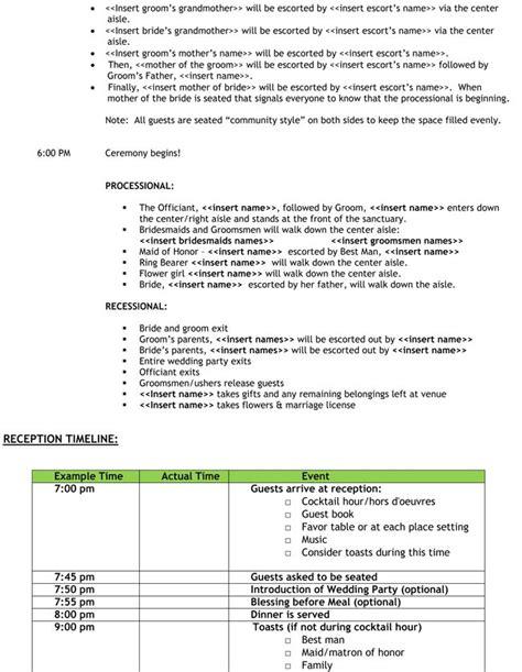 Wedding Ceremony Notes by Rehearsal Notes Wedding Day Agenda Wedding Plans