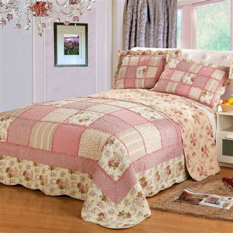 Patchwork Bedding Set - 2015 new pastoral style patchwork bedspread pink summer