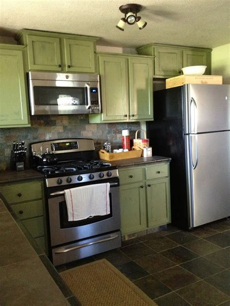 Modern Green Kitchen Cabinets Scenic Wooden Green Kitchen Cabinets With Gray Subway Backsplash On Floors Ideas As