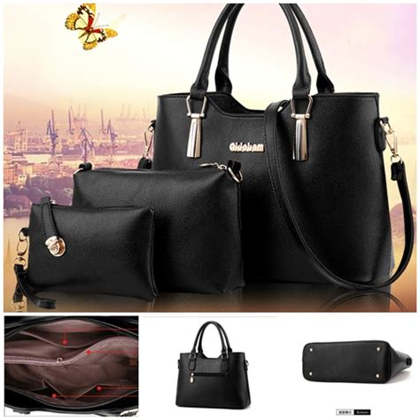 jual b7660 black tas import set 3in1 grosirimpor