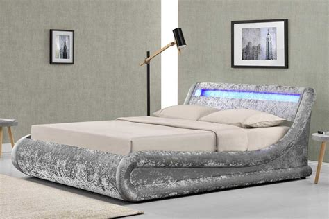 headboard with storage and lights new madrid led lights silver crushed velvet fabric ottoman
