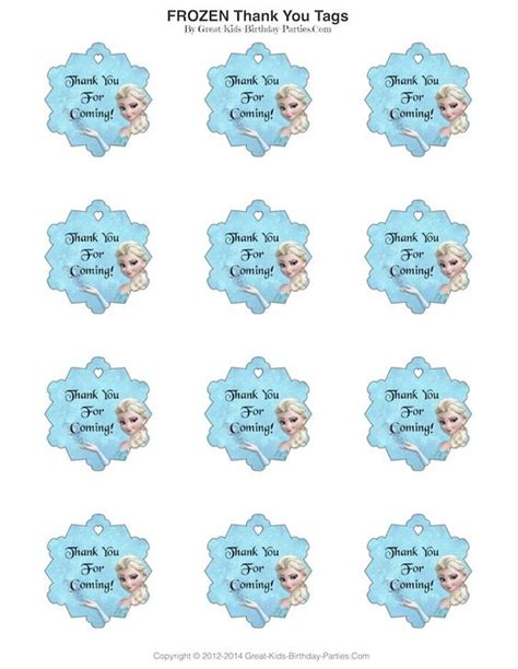 printable frozen favor tags frozen party free printables and frozen on pinterest