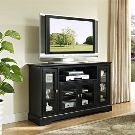Brown Wooden Tv Stand With Four Storage Combined With