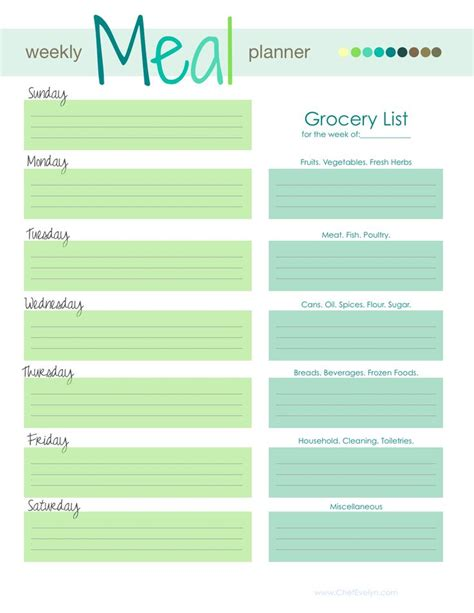 printable meal planning menu 25 best ideas about meal planner printable on pinterest