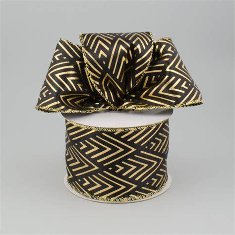 black pattern ribbon 2 5 quot black gold diamond fan pattern ribbon 10 yards