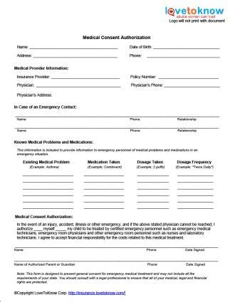 medical release form for minors – templates free printable
