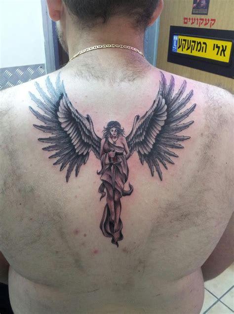tattoo ink angels grey ink angel tattoo on guy upperback tattooshunt com