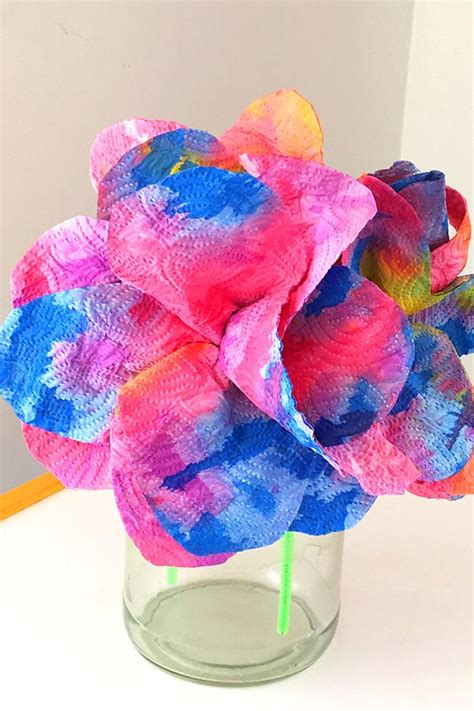 paper towel arts and crafts craft idea drip painted paper towel flowers