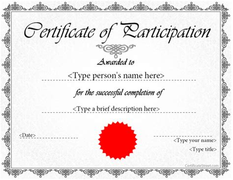 free participation certificate templates for word printable participation templates certificate templates