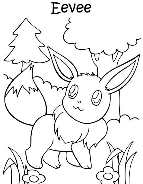 eevee coloring pages to print pokemon pictures of eevee coloring home