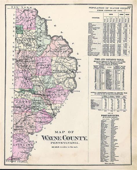 Wayne County Pa Records Antique Maps Of Pennsylvania Counties
