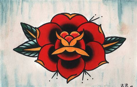 traditonal rose tattoo american traditional drawing www pixshark