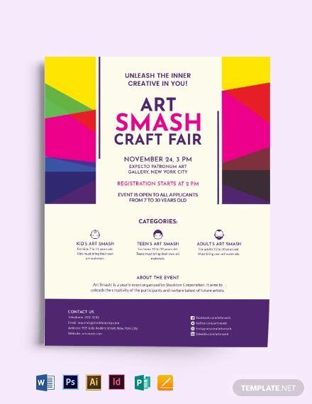 arts craft fair flyer template word psd indesign