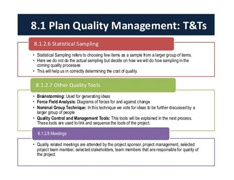 project quality management plan template pmbok project quality management