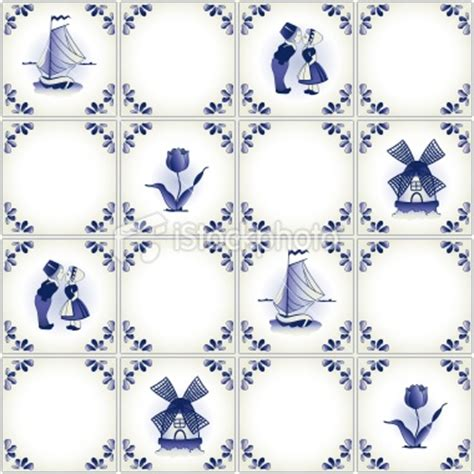 holland pattern stock delft blue tile pattern swatch royalty free stock vector