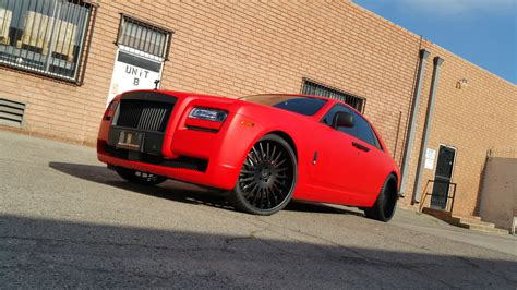 matte red rolls royce project rolls royce ghost by dbx wrapped in 3m matte red