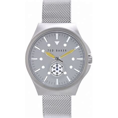 mens silver tone mesh fashion te3042 ted