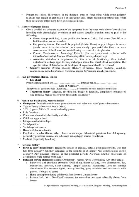 History Collection Format In Psychiatric Nursing Courtesy Departmen Psychiatric History And Physical Template
