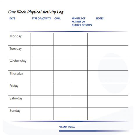 physical template for students activity log sle 5 documents in pdf word excel