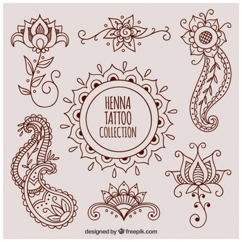 beautiful henna tattoos vector free