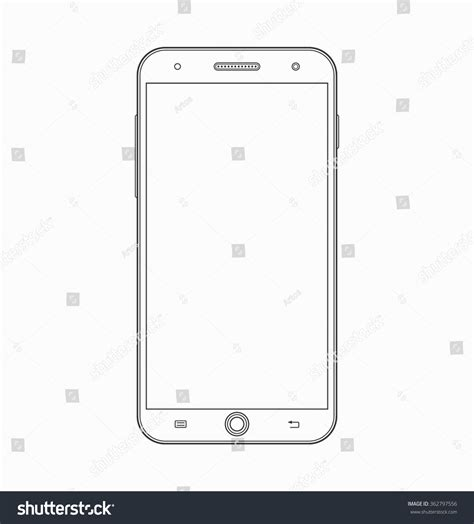 template phone smartphone outline icon modern mobile phone stock vector
