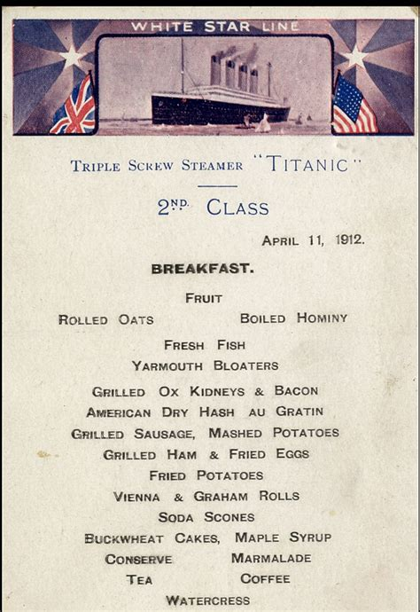 titanic first class menu titanic menu which doubled as a postcard to sell for 163