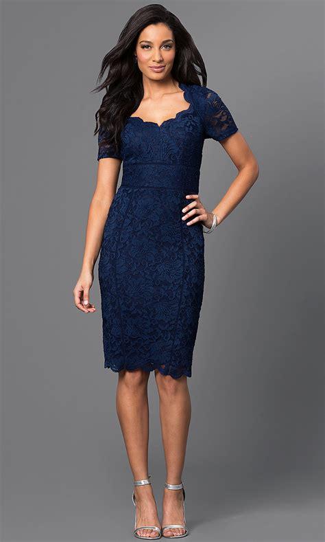 knee length short sleeve blue lace dress promgirl
