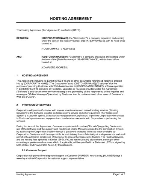 Hosting Agreement Template Hosting Agreement Template Sle Form Biztree Com