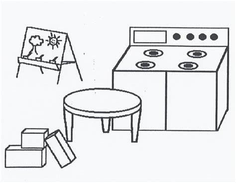 toy kitchen coloring page dramatic play center clipart clipart suggest