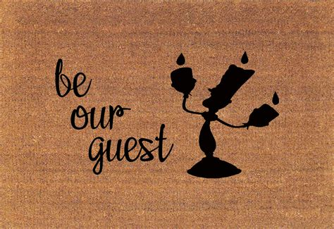 be our guest and the beast lumiere disney door mat