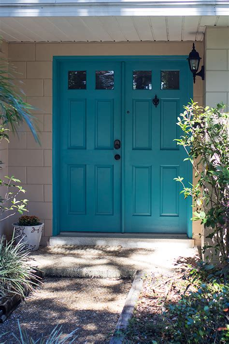 teal door teal front door