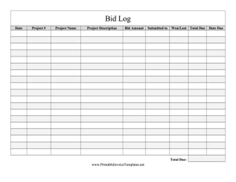 bid calendar template bidder bid log template