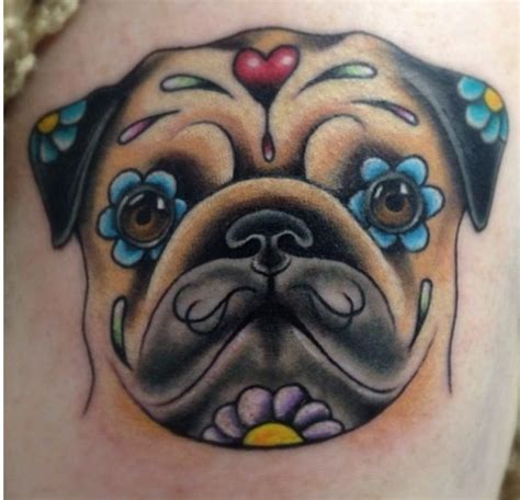 pet sugar skull tattoo pug love pinterest
