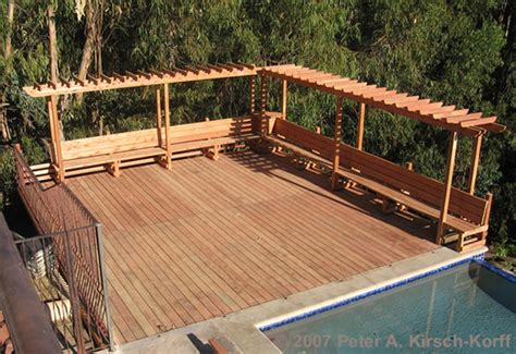 wood deck bench craftsman wood pool deck with arbor bench a malibu deck builder