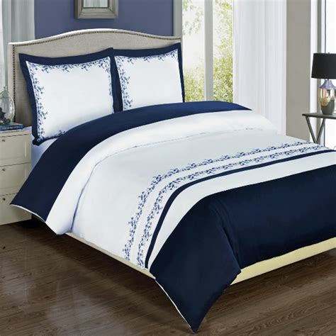 4pc navy blue white embroidered 100 egyptian cotton