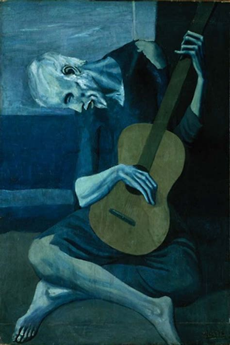 the blind guitarist the guitarist by pablo picasso