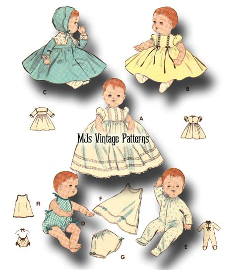 vintage baby doll clothes pattern 13 quot tiny tears betsy