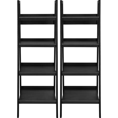 ladder bookcase black altra metal ladder bookcase set of 2 black shelves shelf