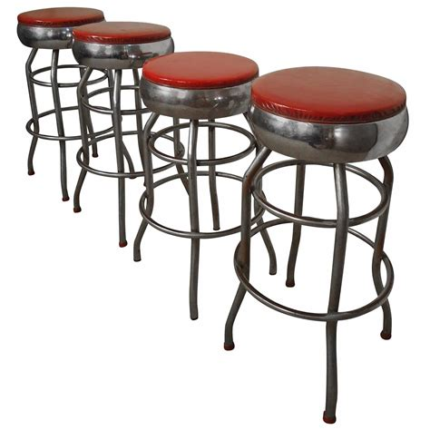 bar stools chrome four midcentury chrome and vinyl bar stools at 1stdibs