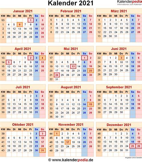 Kalender 2021 Bayern Kalender 2021 Mit Excel Pdf Word Vorlagen Feiertagen