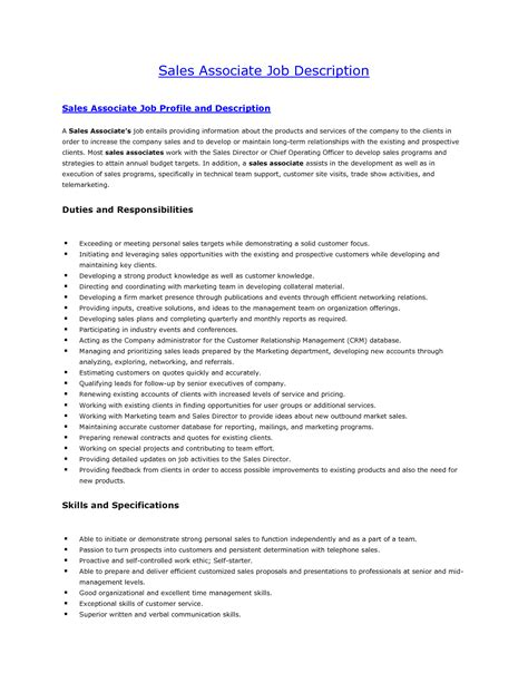 sales description sales associate descriptions for resume