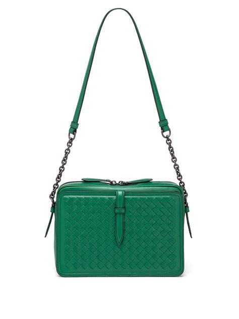 Bottega Venetta Green bottega veneta intrecciato leather box shoulder bag in green lyst