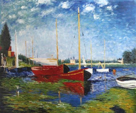 monet boats at argenteuil claude monet red boats at argenteuil modern prints