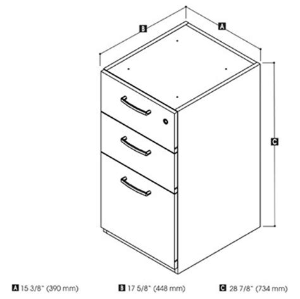 Pedestal Dimensions pro biz desk file pedestal by bestar smart furniture