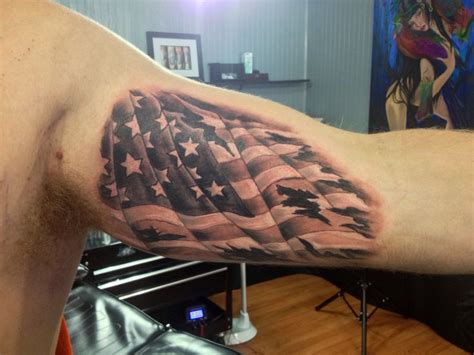 ripped flag tattoo 22 black and white flag