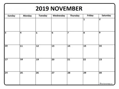 Calendar 2019 November November 2019 Calendar November 2019 Calendar Printable