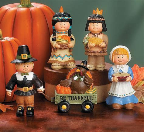 pilgrims native american figurines thanksgiving fall