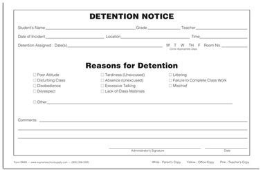 detention slip template detention notice triplicate dn89 supreme school supply