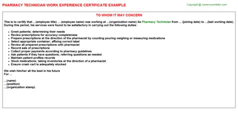 Work Experience Letter Pharmacy experience certificate sle for pharmacist gallery